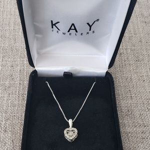 1/5 Carat Heart Necklace Sterling Silver